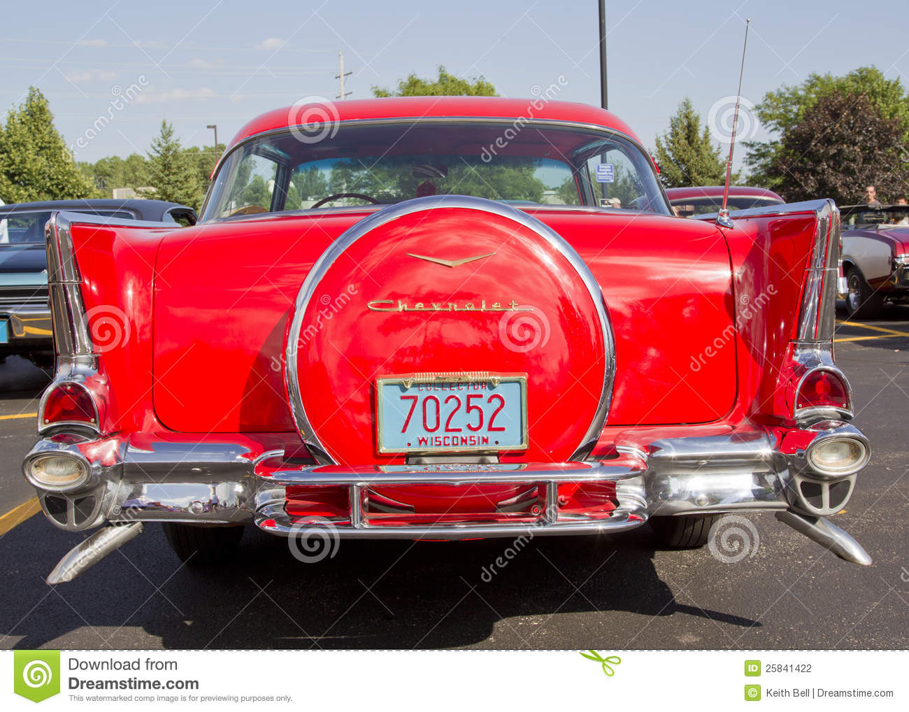 Two Door Chevy Red Back View on 1957 Chevy Bel Air