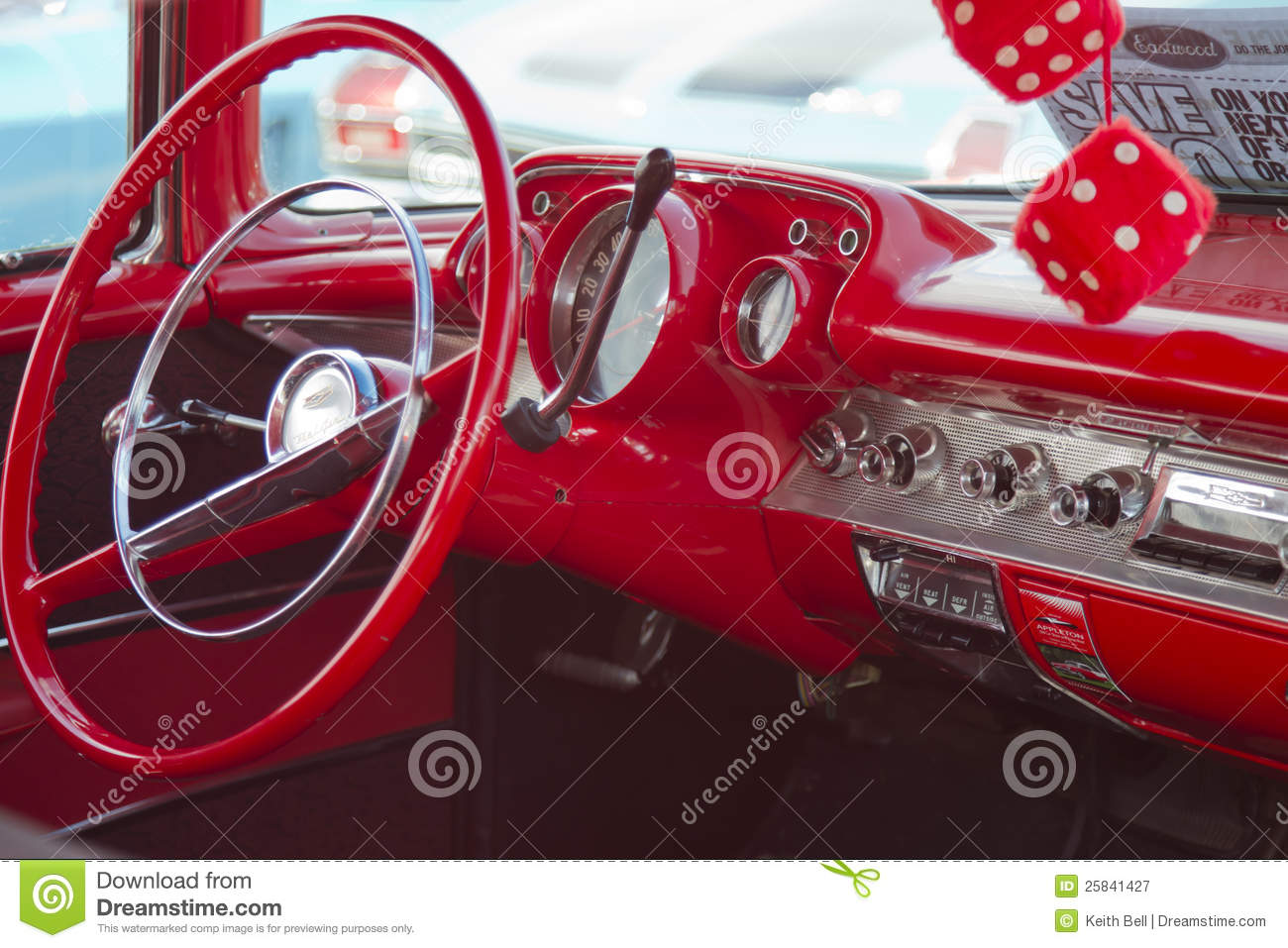 Two Door 57 Chevy Red Interior Editorial Photography - Image: 25841427