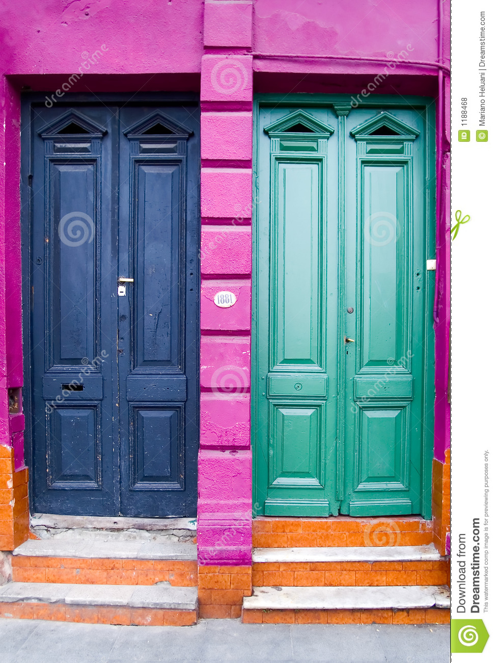 Two Doors And Four Colors Stock Photo Image Of Windows