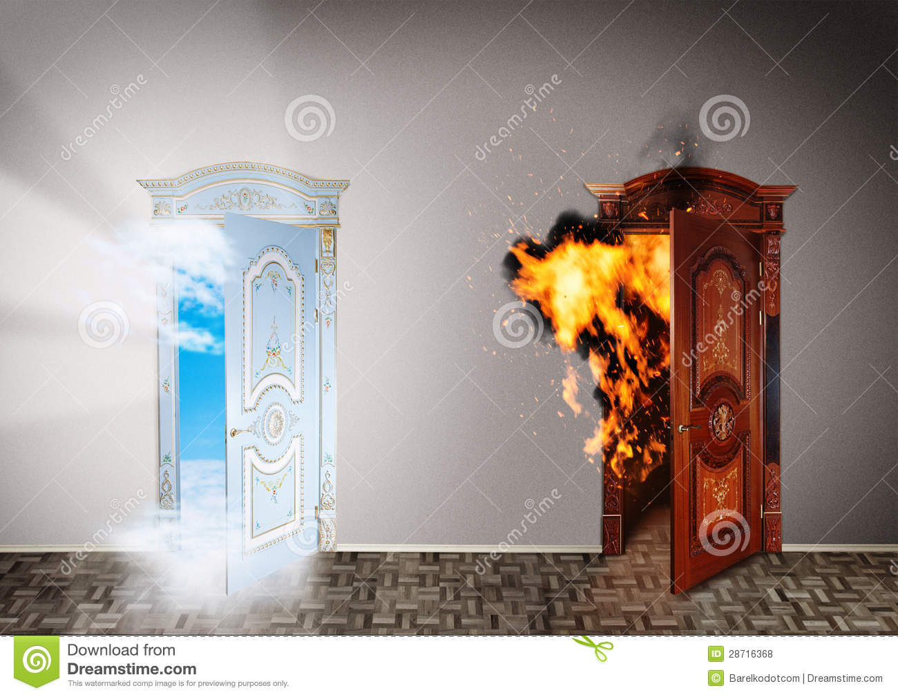 Two doors to heaven and hell. & Two Doors To Heaven And Hell. Stock Photo - Image of halloween ...