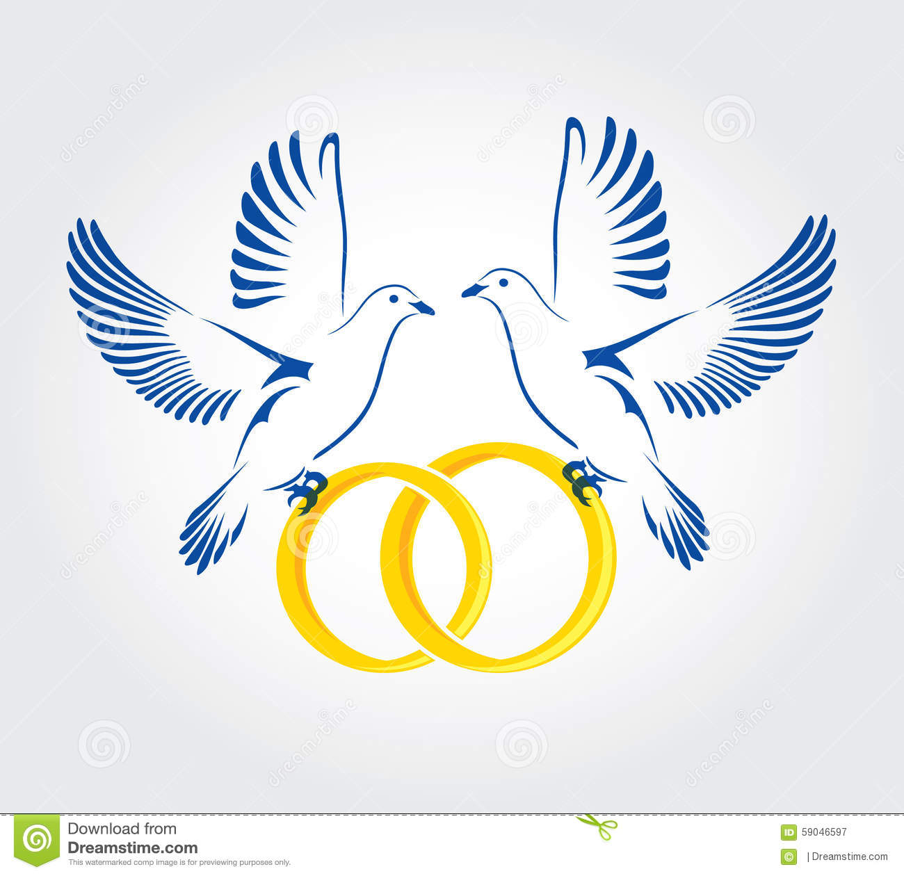 Two doves flying with wedding rings stock vector image 59046597