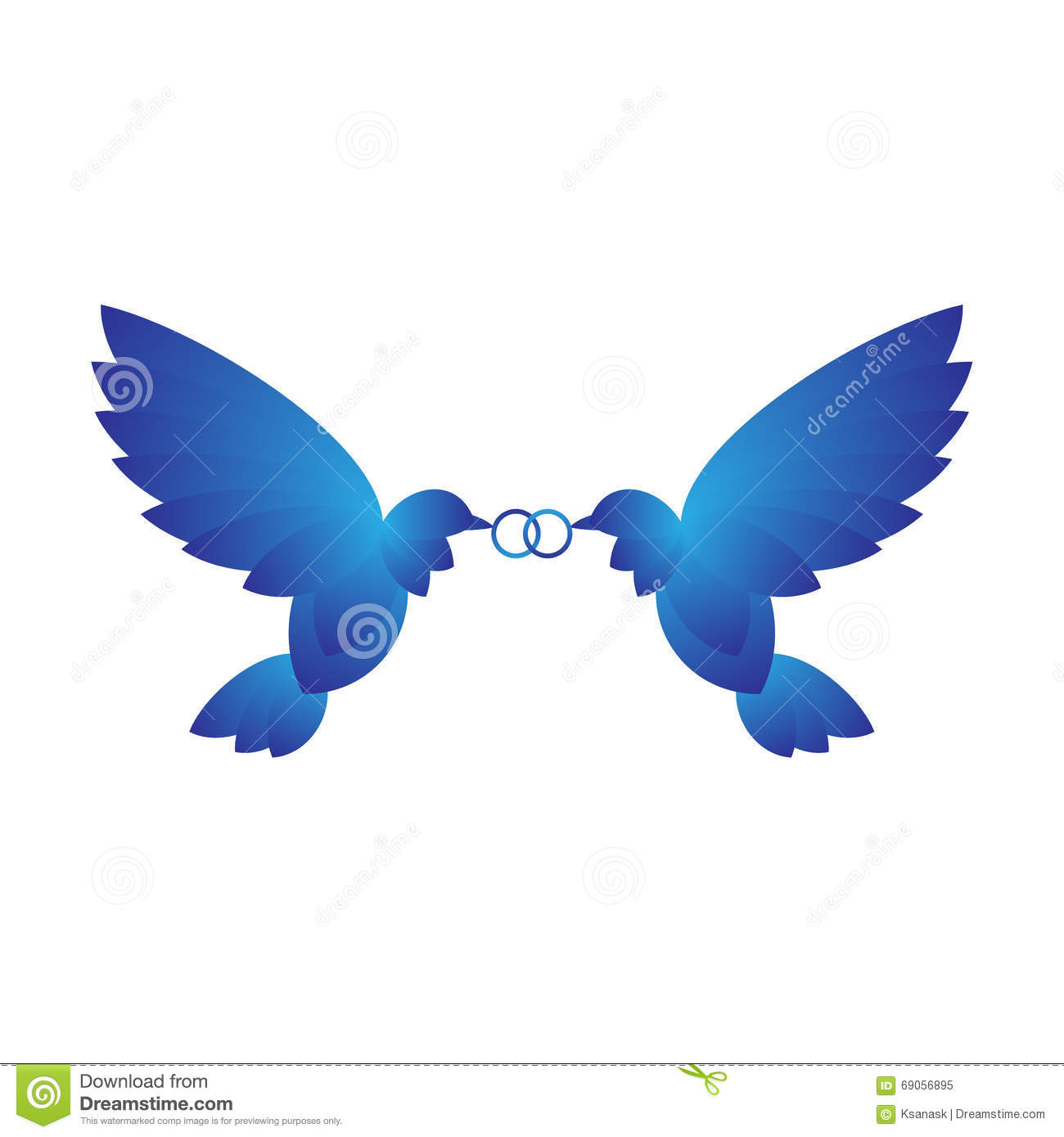 two doves with rings stock vector image of logo