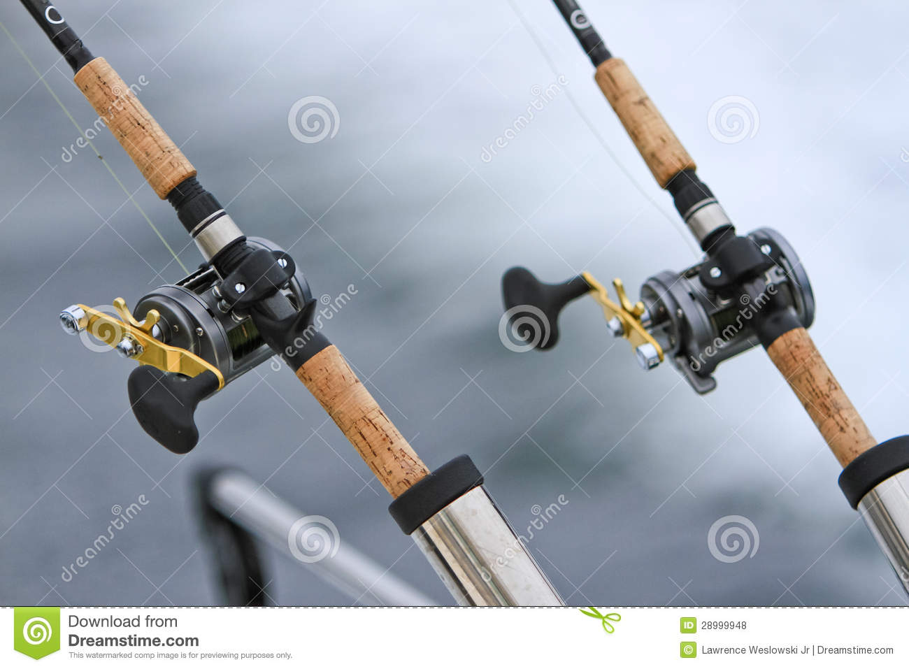 Two downrigger fishing rods and reels royalty free stock for Trout fishing rod and reel