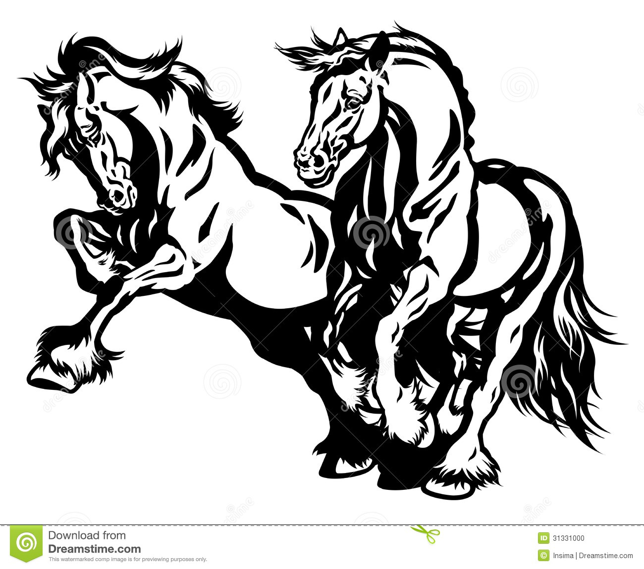 Two draft horses black white stock photo image 31331000 for Immagini cavalli stilizzati