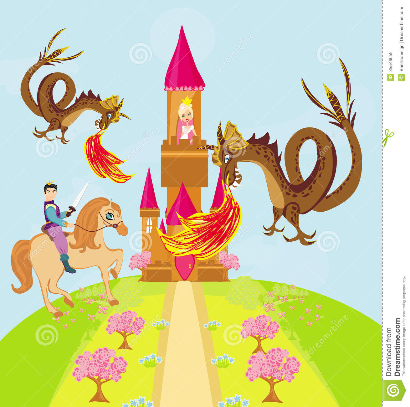 Two Dragons Attacking The Princess Castle Royalty Free Stock Images ...