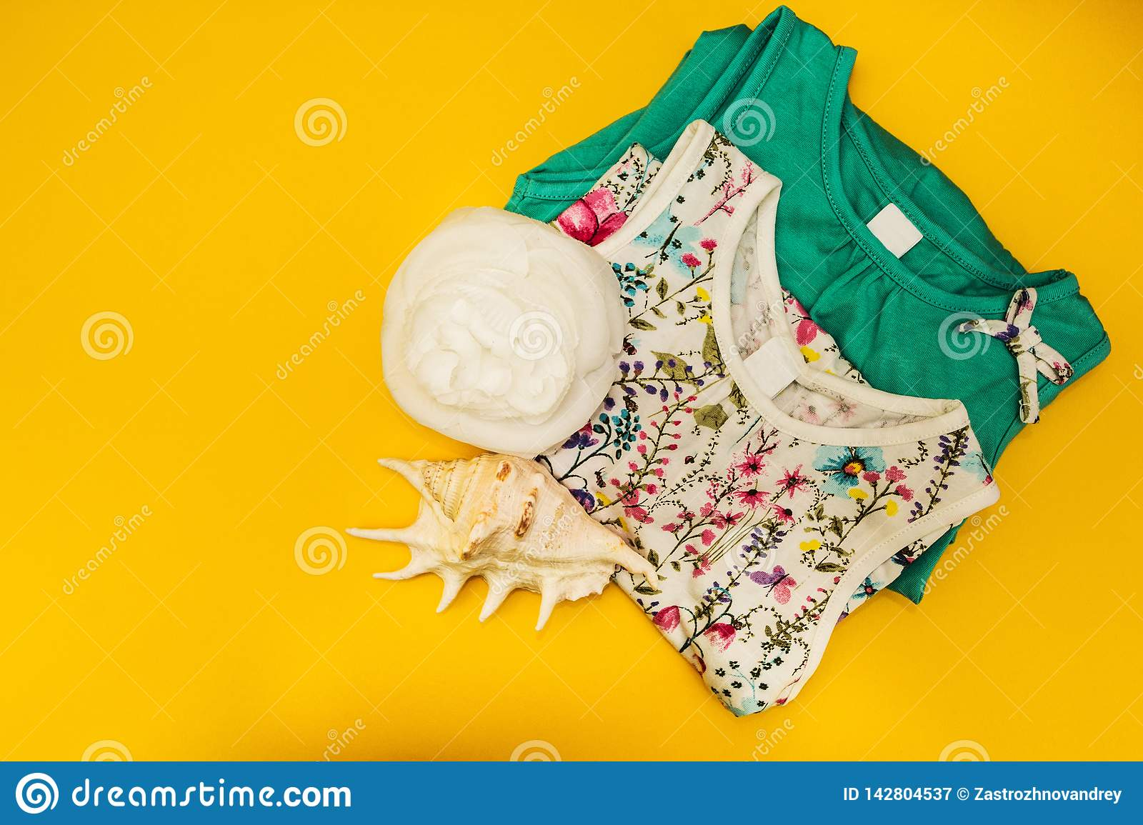Two dresses, white flower and a large shell on a yellow background, isolated