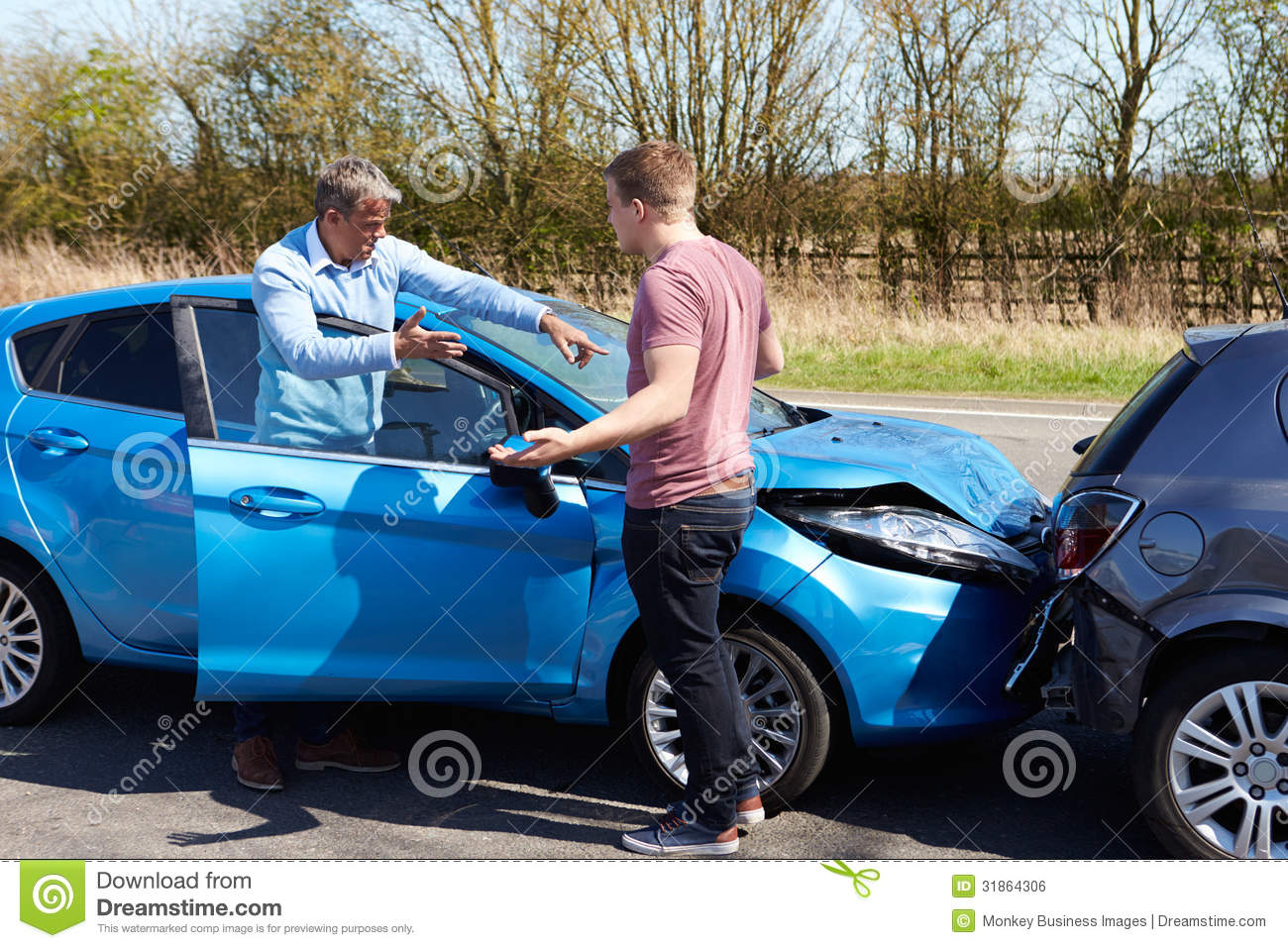 Two Drivers Arguing After Traffic Accident Royalty Free Stock Image Image 31864306