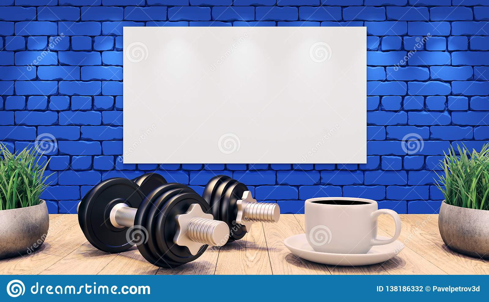 Two Dumbbells and a cup of coffee on a wooden table. White Blank Poster on the blue brick wall. 3d illustration