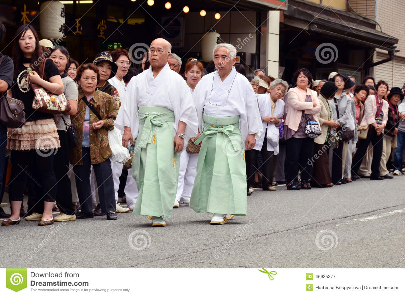 Two Elderly Japanese Men In Traditional Clothes Editorial