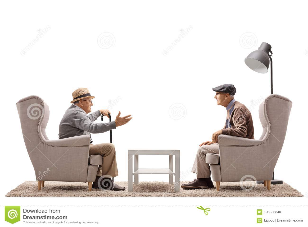Two elderly men seated in armchairs having a conversation