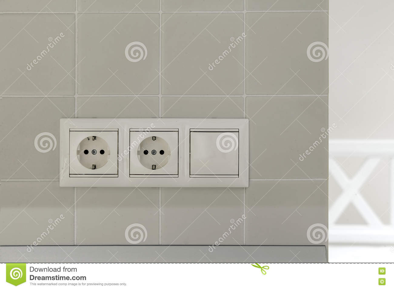 Two Electric Sockets And Switches Stock Photo - Image of push ...