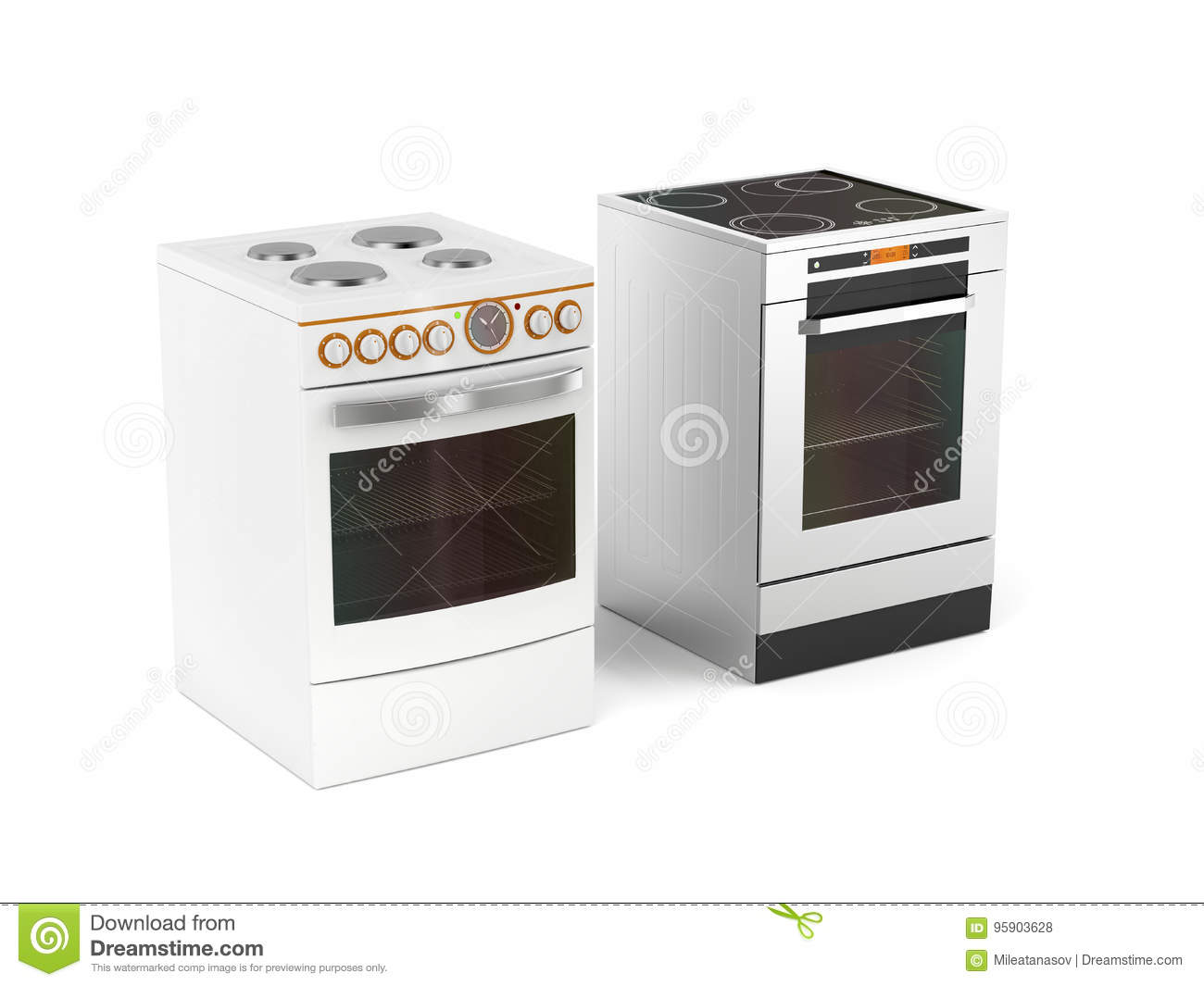 Electricstoves Two Electric Stoves Stock Illustration Image 95903628