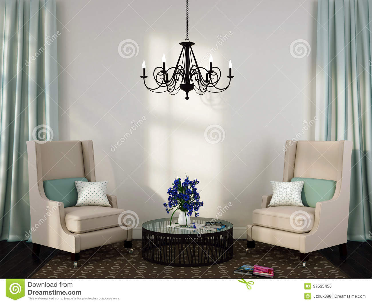 Two Elegant Chairs And Coffee Table