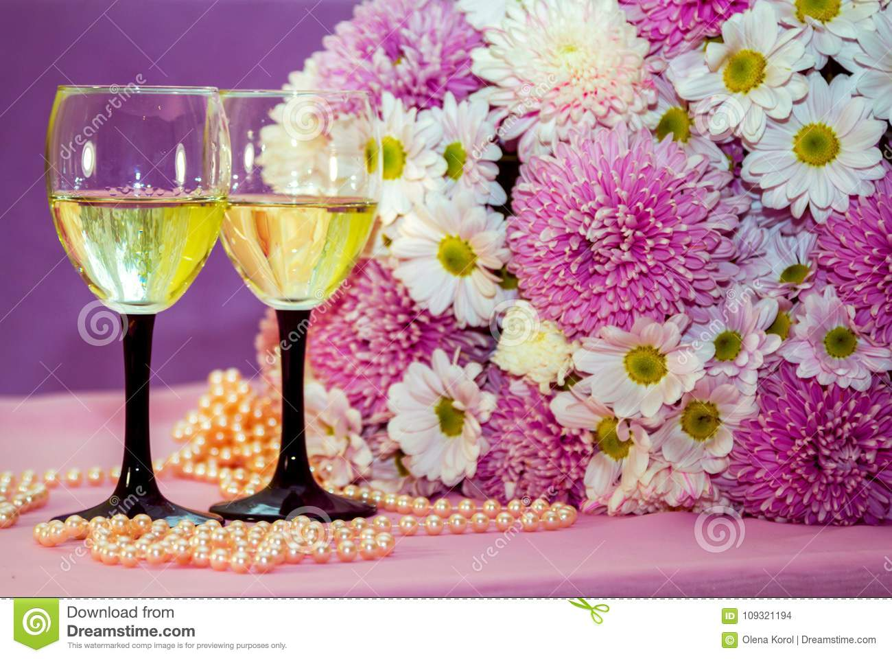 White wine or champagne pearl beads and flowers stock photo image white wine or champagne pearl beads and flowers mightylinksfo