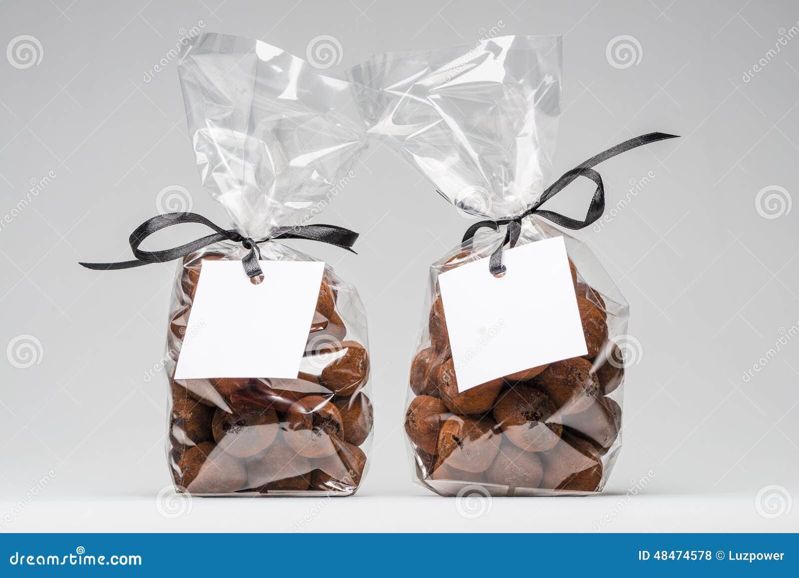 Two Elegant Plastic Bags Of Chocolate Truffles For Christmas Gif ...