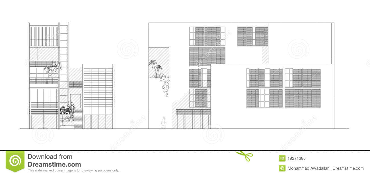 Two elevations of a modern architectural design