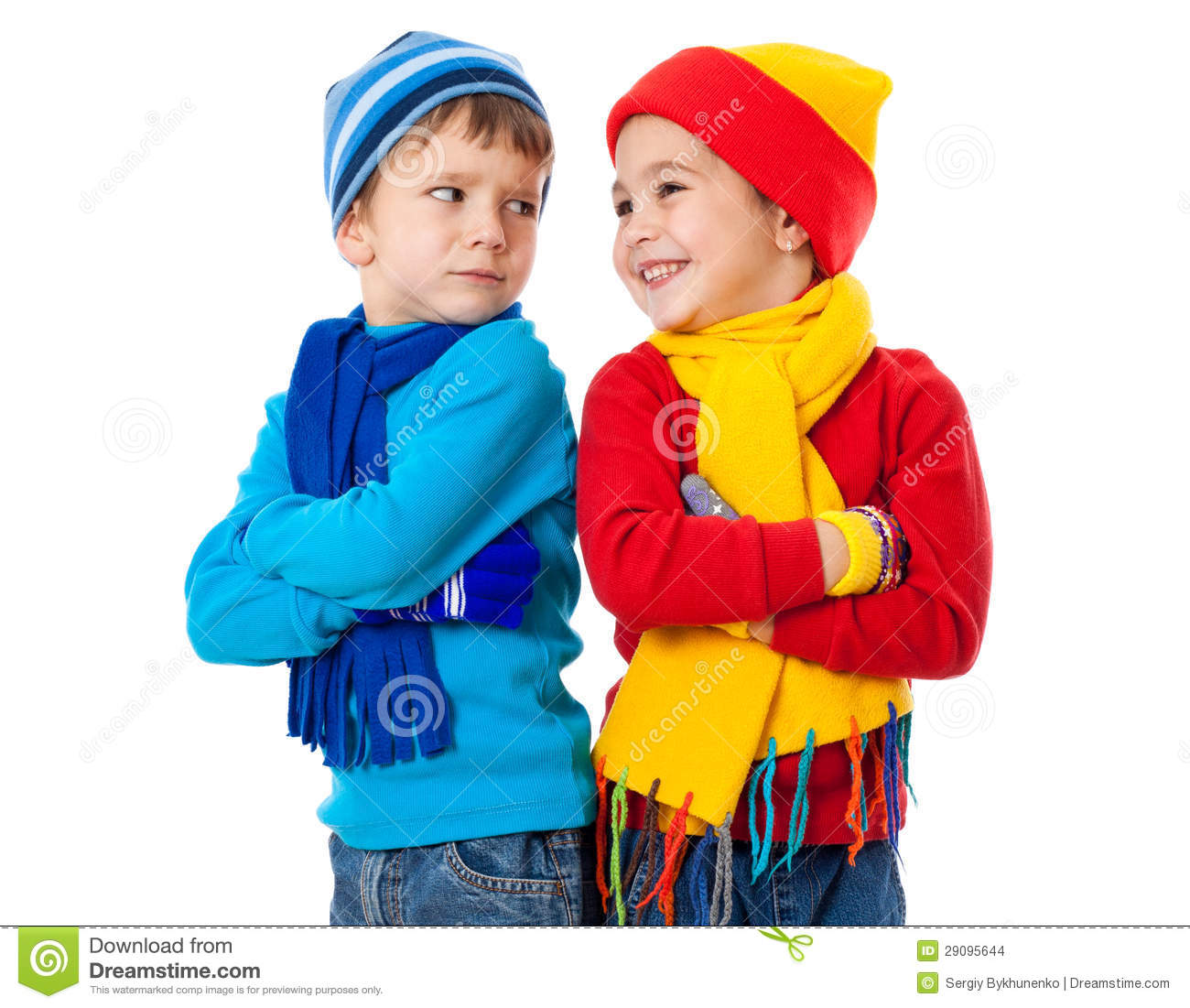 d3064a3cd Two Emotional Kids In Winter Clothes Stock Photo - Image of ...
