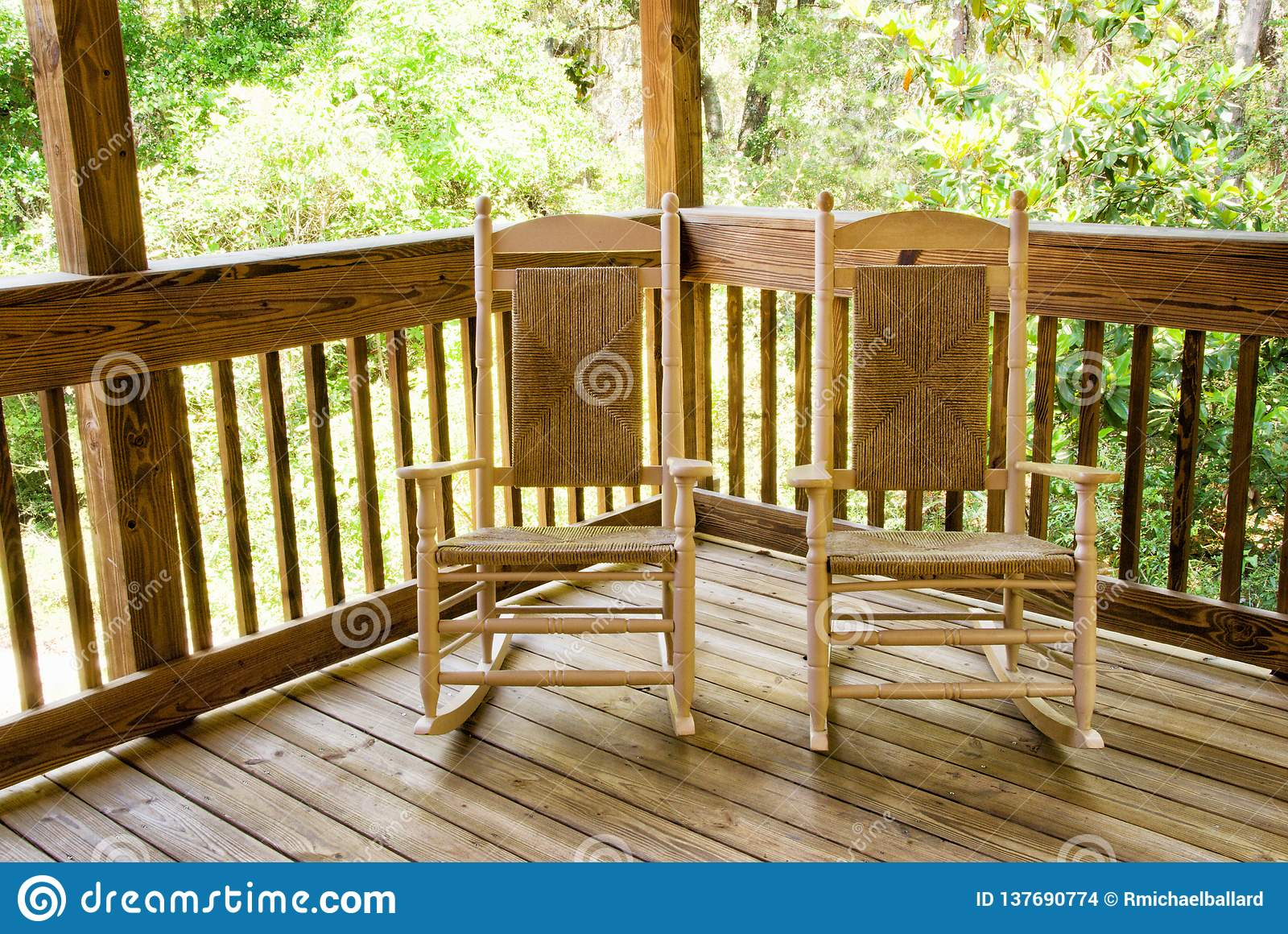 Picture of: Two Empty Wooden Rocking Chairs On A Front Porch Stock Photo Image Of Wood Chair 137690774