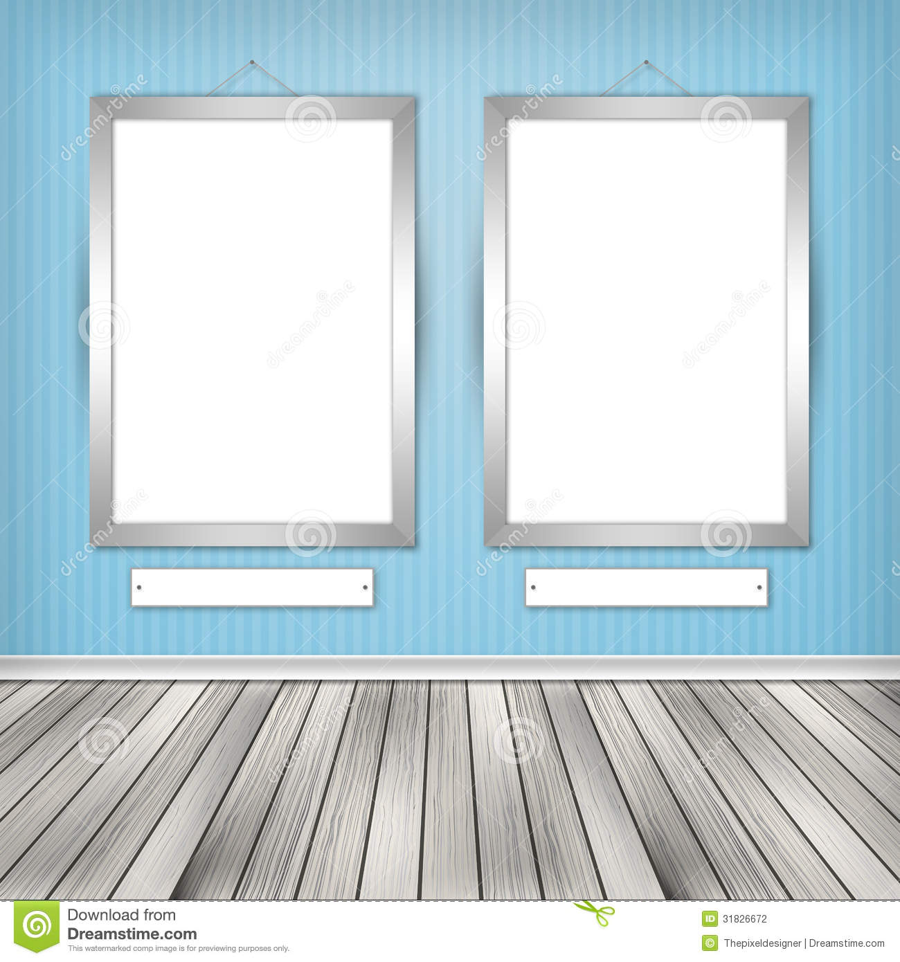 Two empty frames on a wall stock photography image 31826672 for What to do with empty picture frames