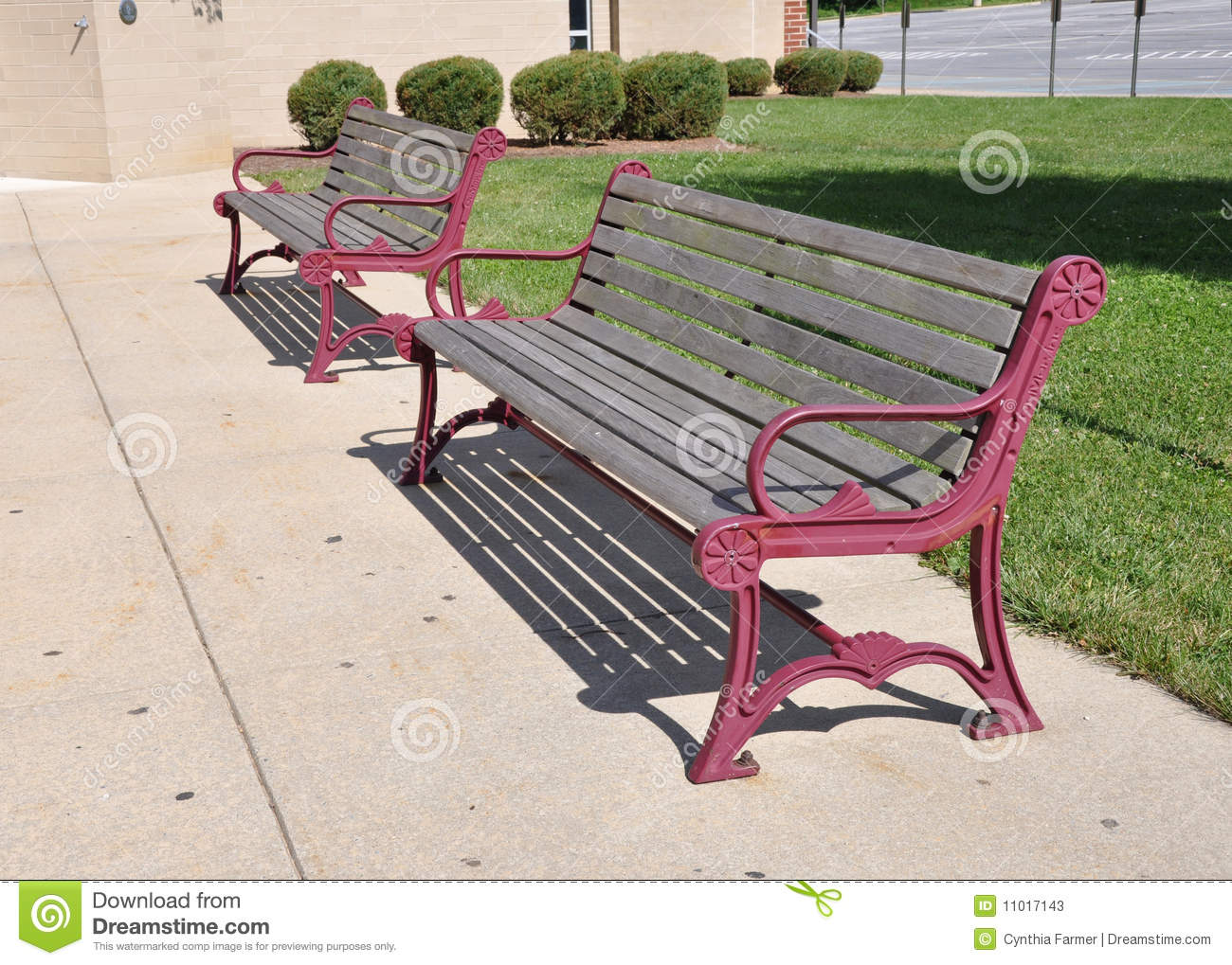 Two Empty Outdoor Benches Stock Photos - Image: 11017143