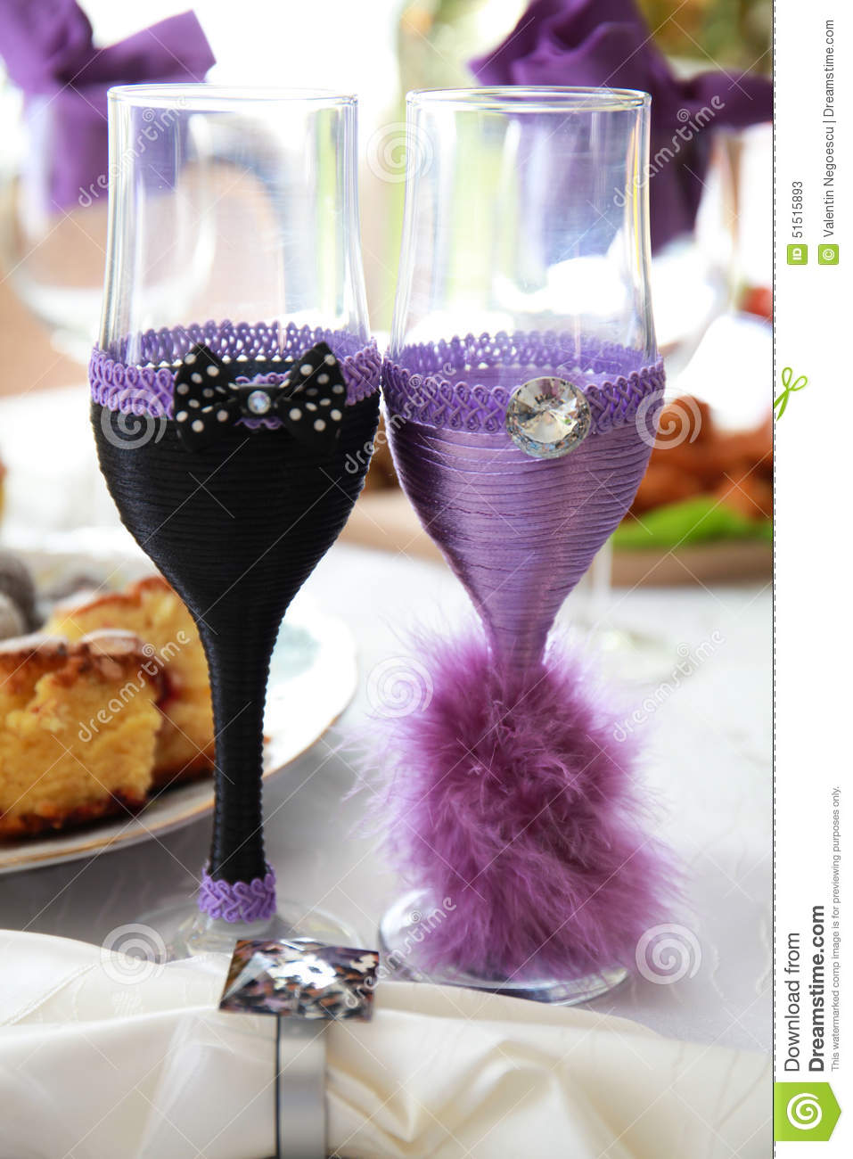 Two Empty Wedding Champagne Glasses Stock Image - Image of empty ...