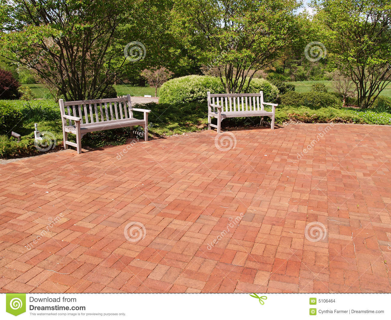 Two Empty Wood Benches By A Red Patio Stock Images - Image: 5106464