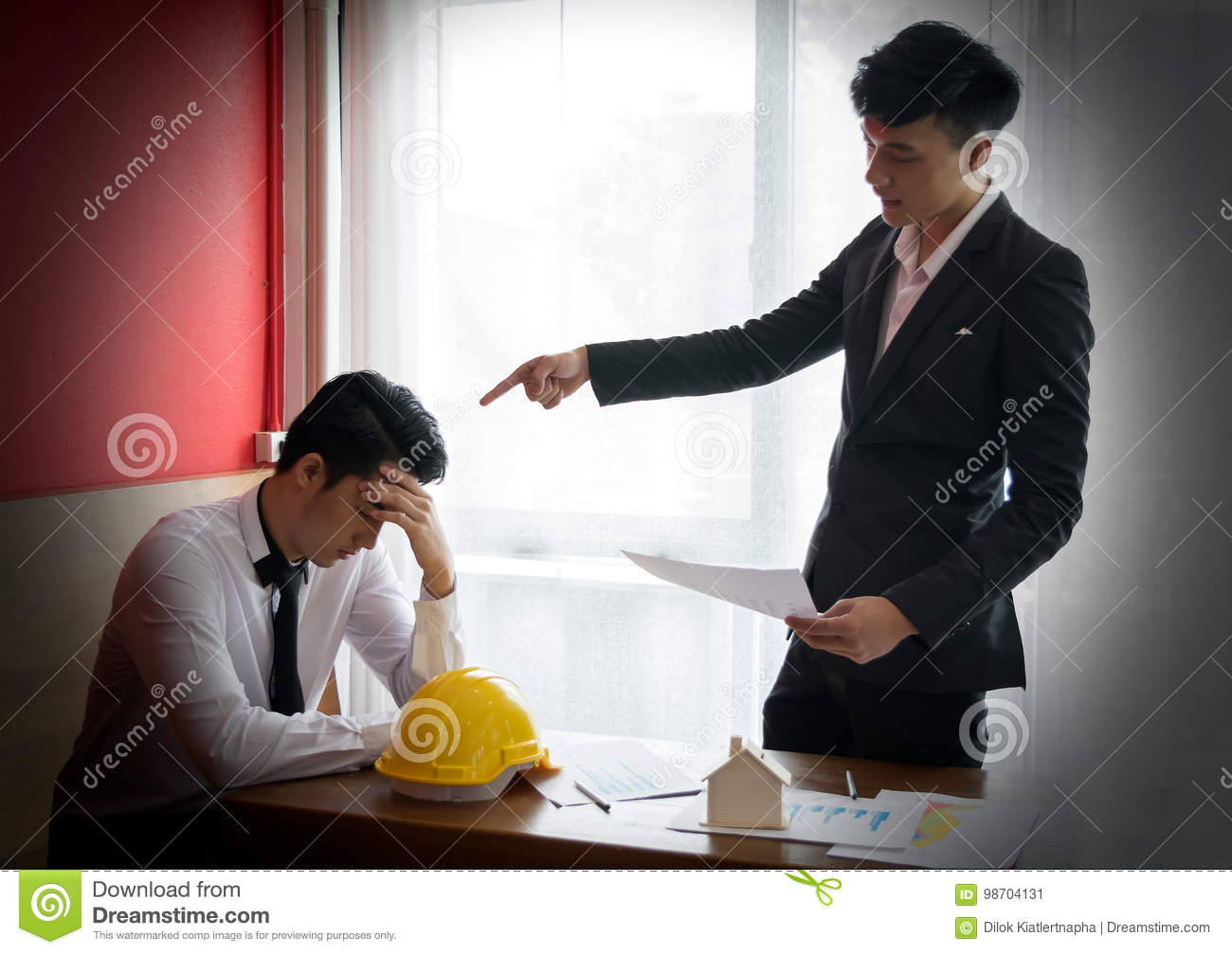Two engineer or businessman complain the Mistake