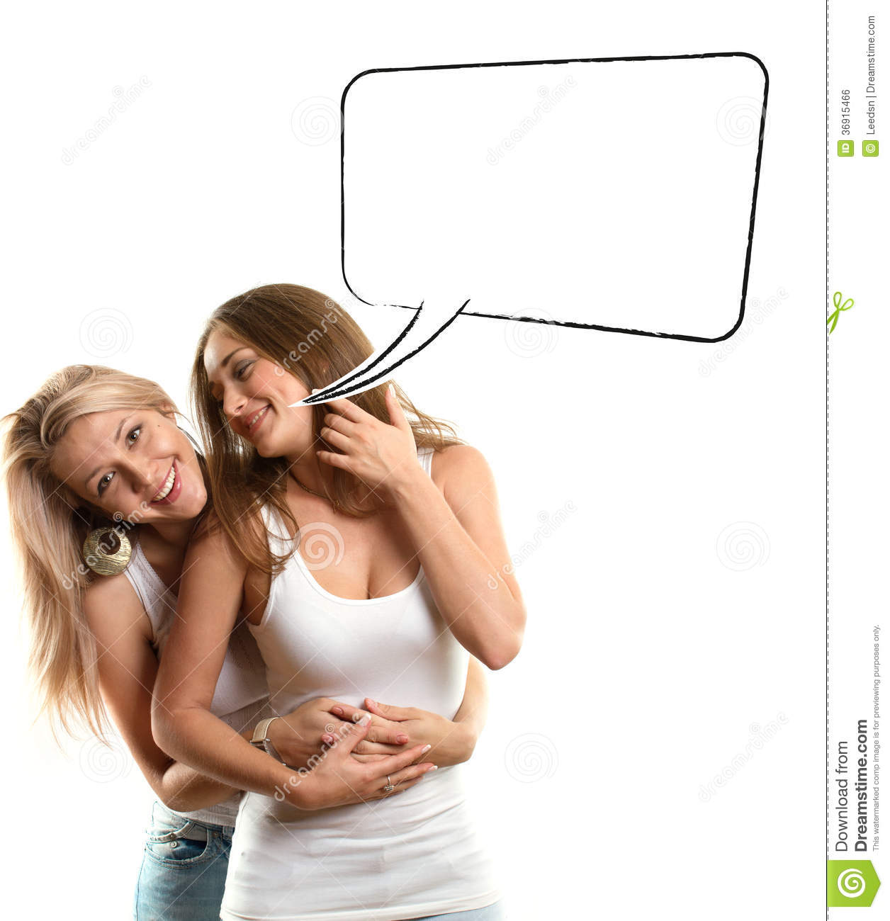 Gay Couple Two Women Looking On Camera With Speech Bubble