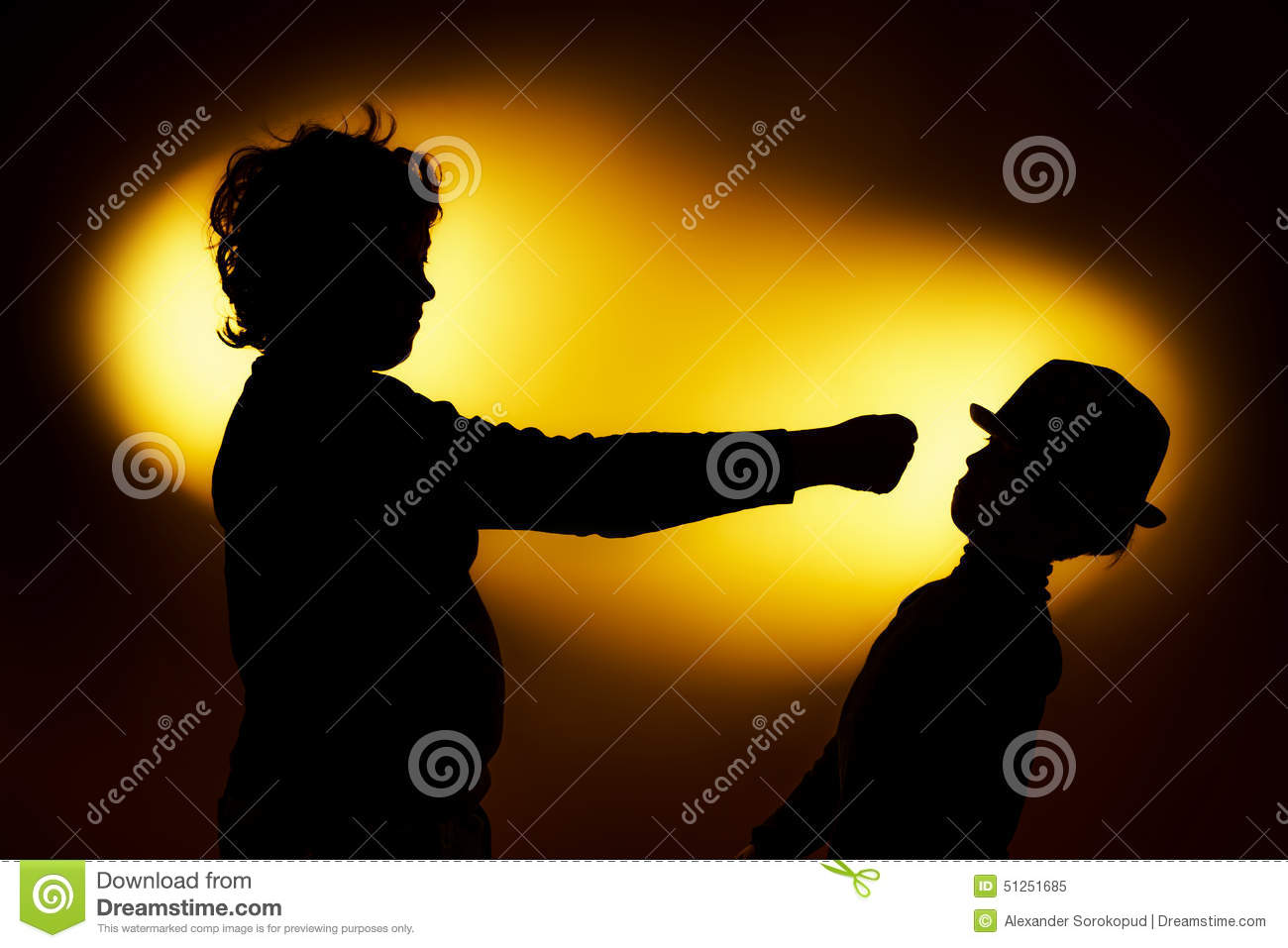 Two expressive boy s silhouettes showing emotions using gesticu