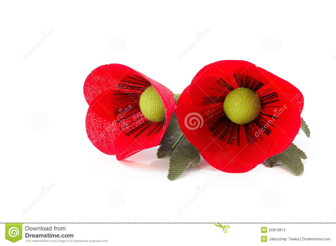 Two Fabric Poppies Flower Pin On White Background Stock Photo