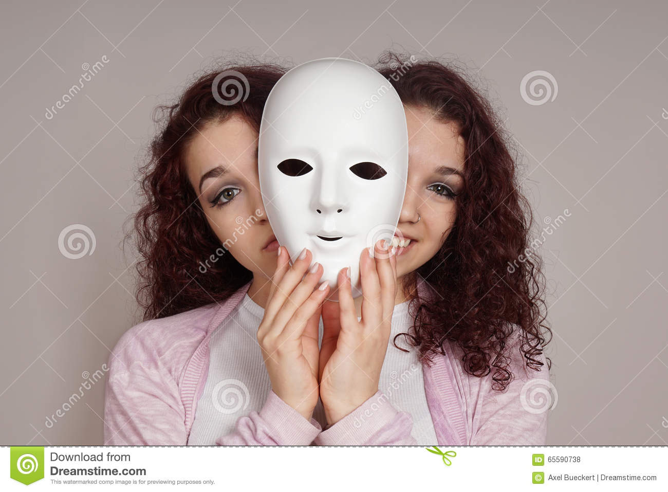 Two-faced woman manic depression concept
