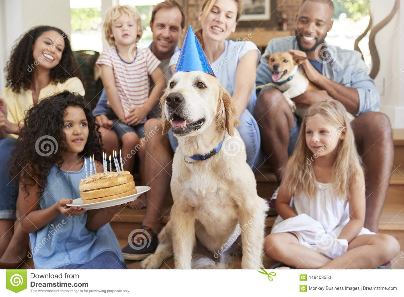 Two families celebrating pet dog�s birthday at home