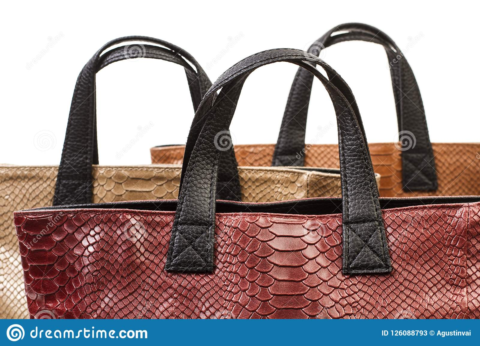 f58f50d0e7 Two Female Leather Handbags Stock Image - Image of lady