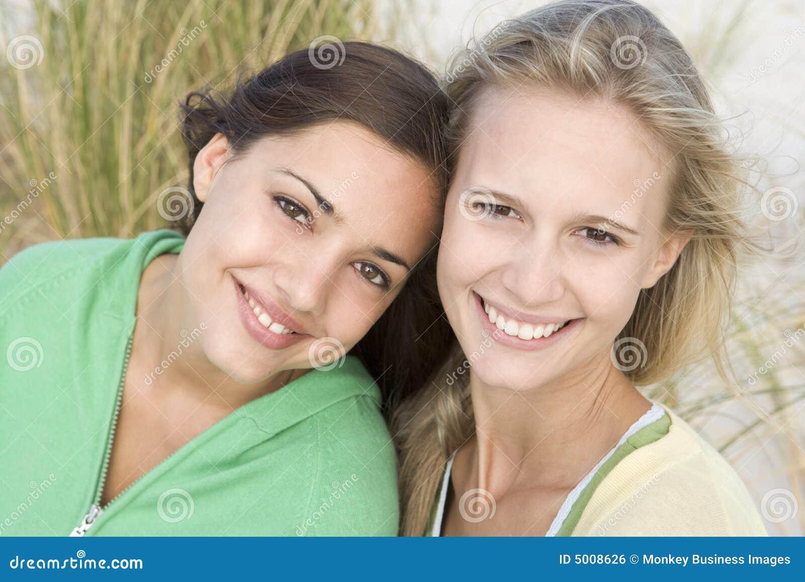 Two female friends at beach