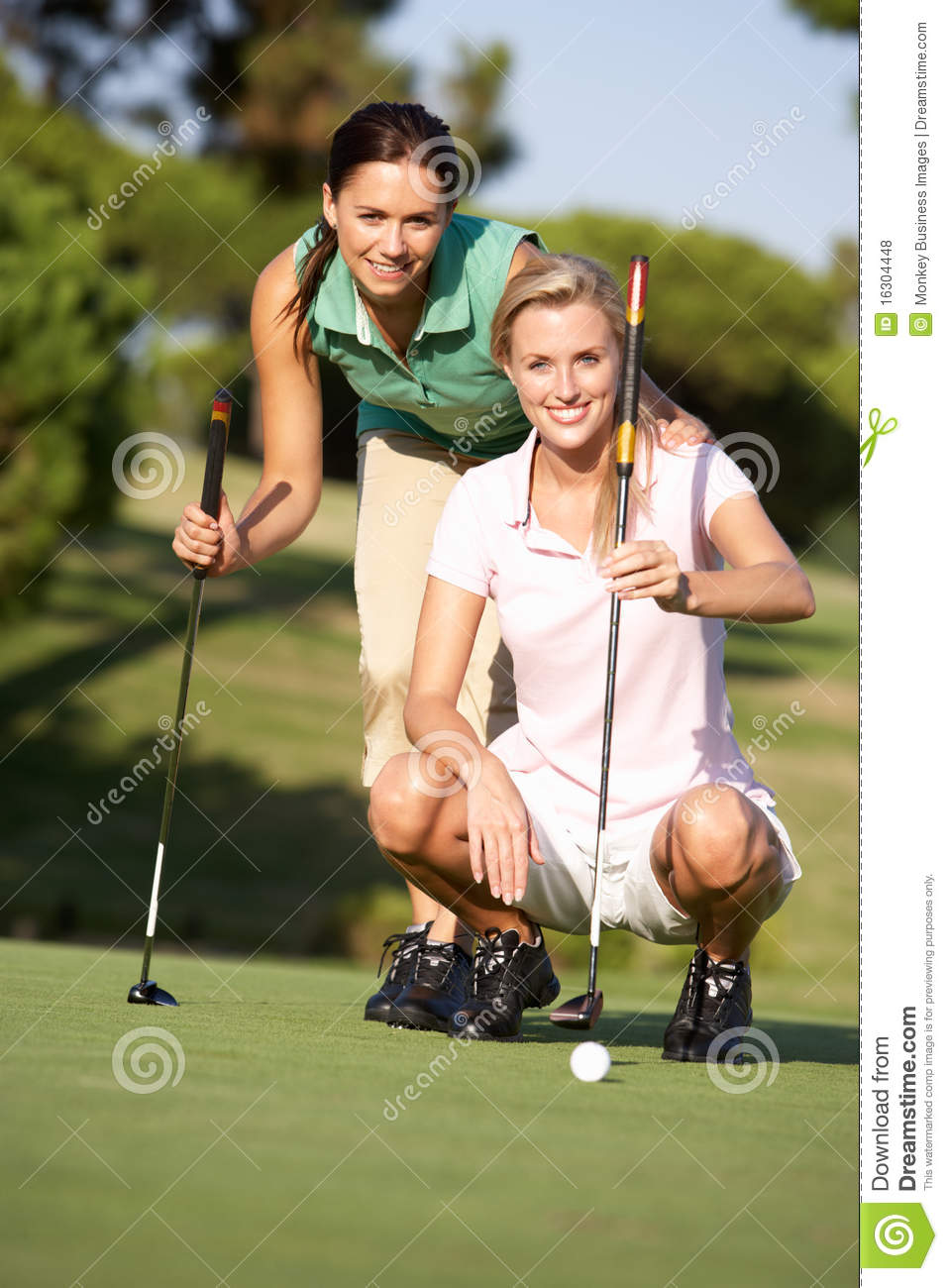 Two Female Golfers On Golf Course Stock Photo - Image Of -9397