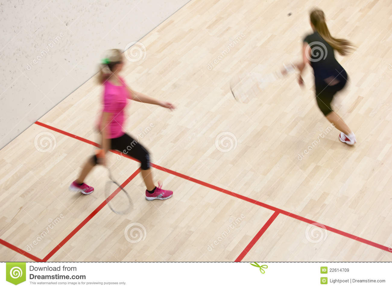 Two Female Squash Players In Fast Action On A Squash Court Royalty Free Stock Images Image