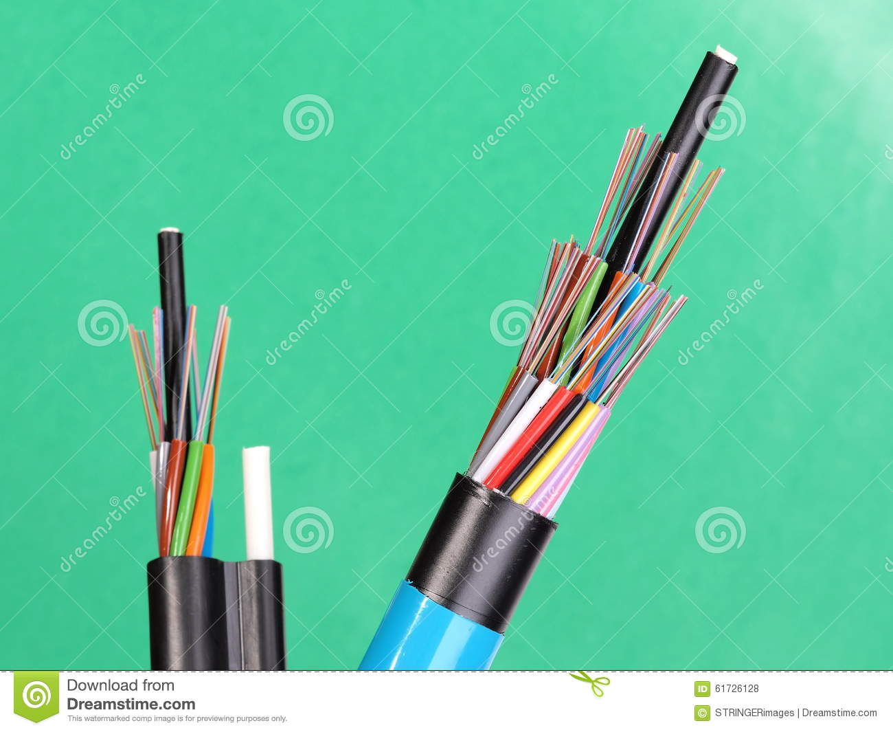 Two Fiber Optic Loose Tube Cables With Stripped Ends And Bare ...