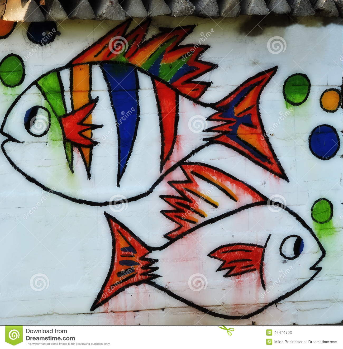Two fish painted on wall stock image. Image of animal - 46474793