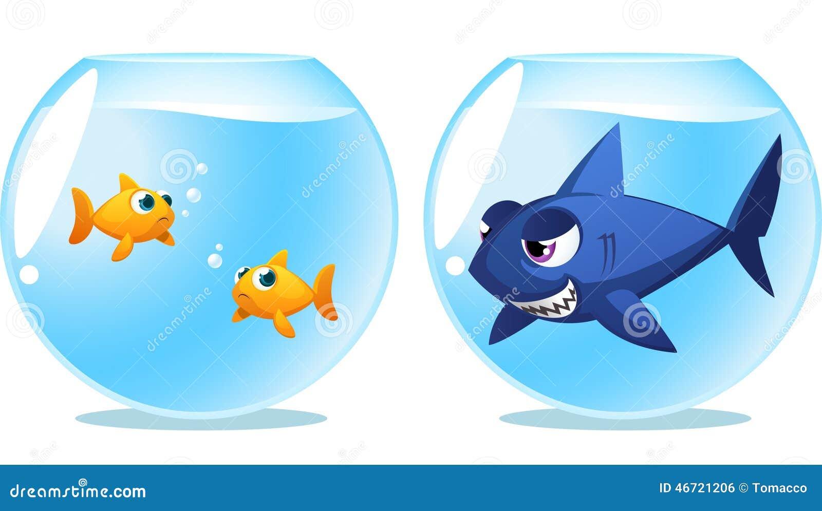 two fish scared of dangerous shark stock illustration Shark Silhouette Clip Art Cartoon Shark Clip Art