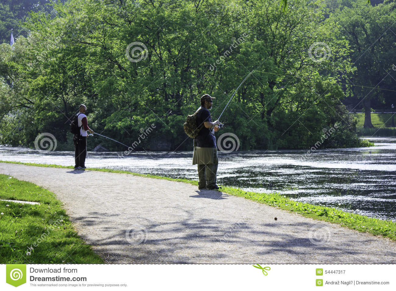 Two fishermen in central park new york city editorial for Fishing in new york city