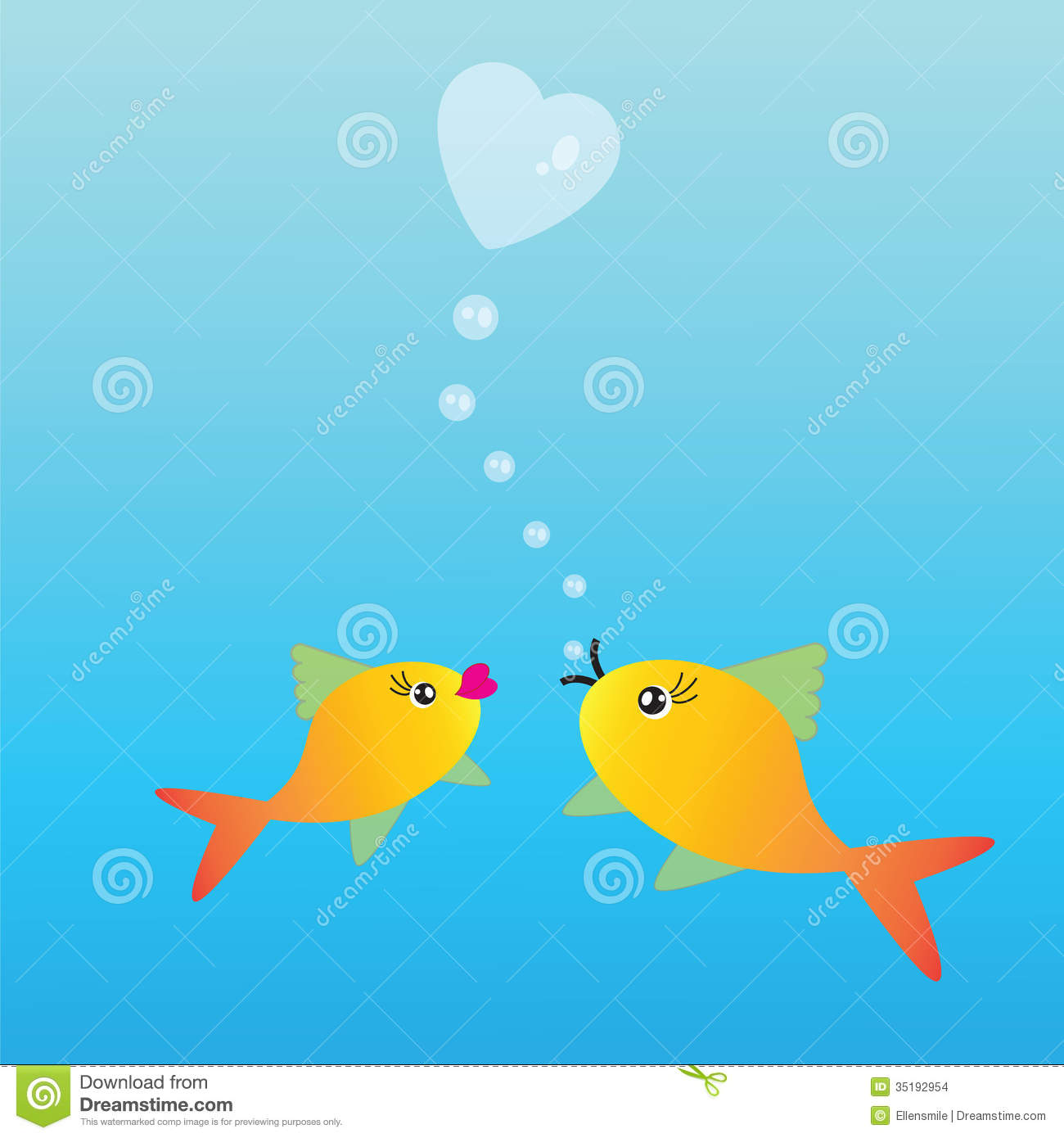 Two fishes in love stock images image 35192954 for I love the fishes