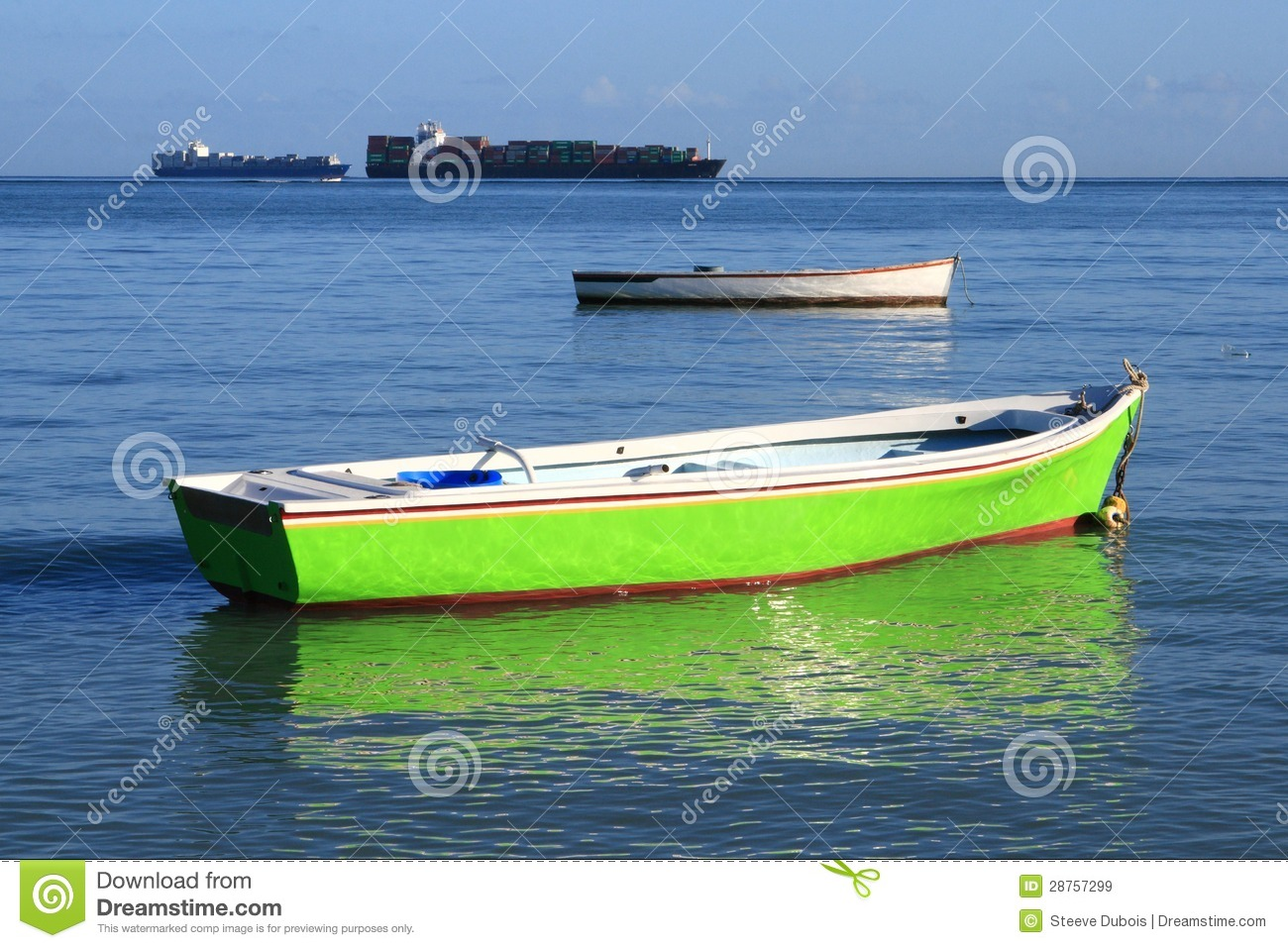 Two fishing boats in shallow water royalty free stock for Shallow water fishing boats