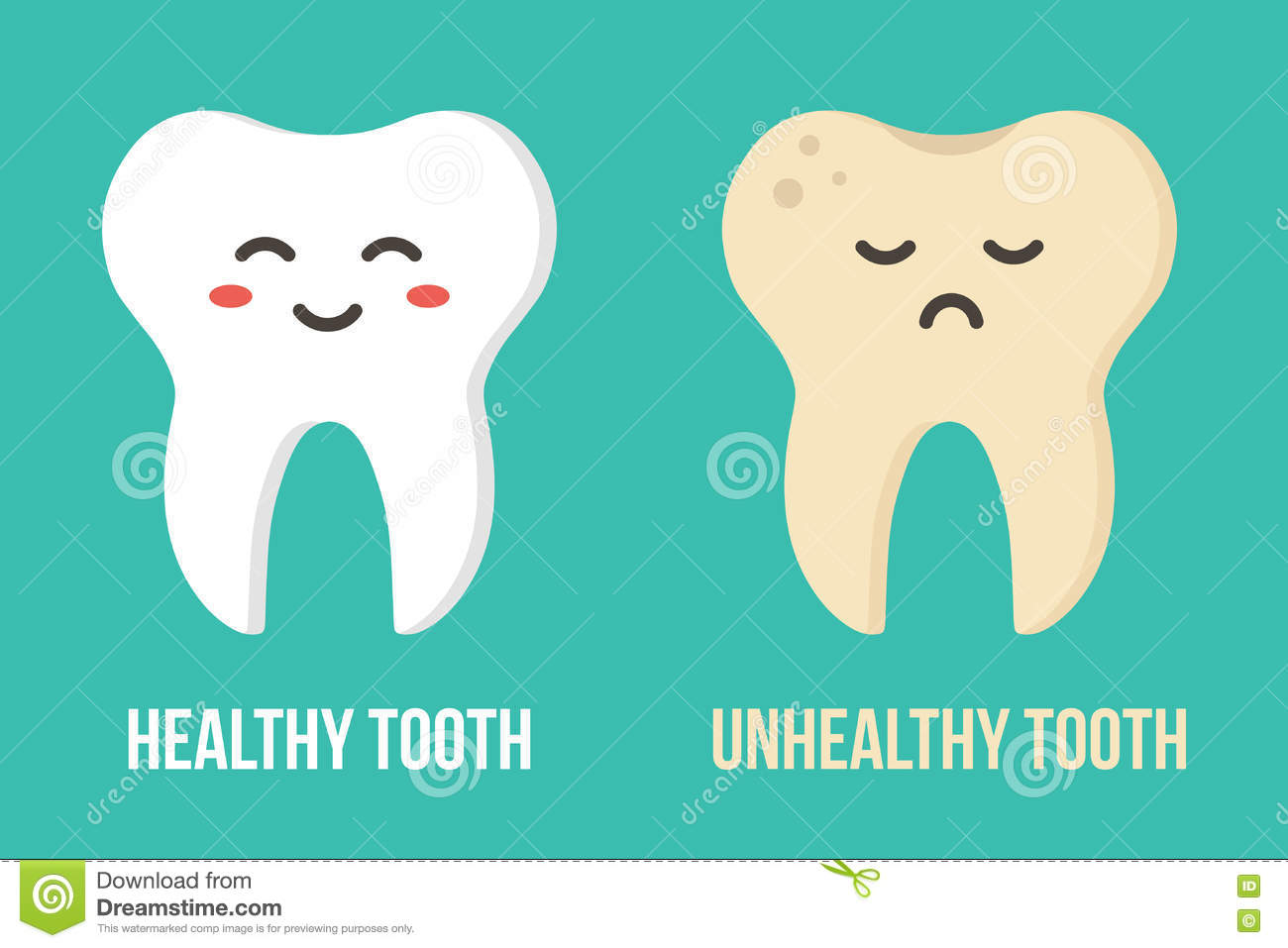 1 Toothed Cartoon Characters : Two flat design human teeth cartoon characters icons
