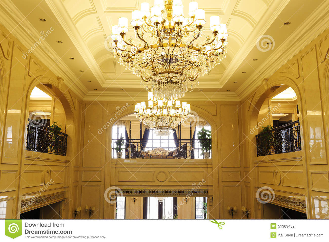 Arch arched chandeliers corridors delicate floors lobby