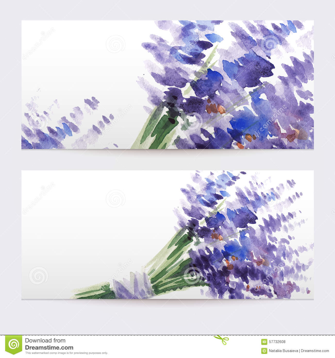 Two Floral Watercolor Banners With Bouquet Of Lavender ...