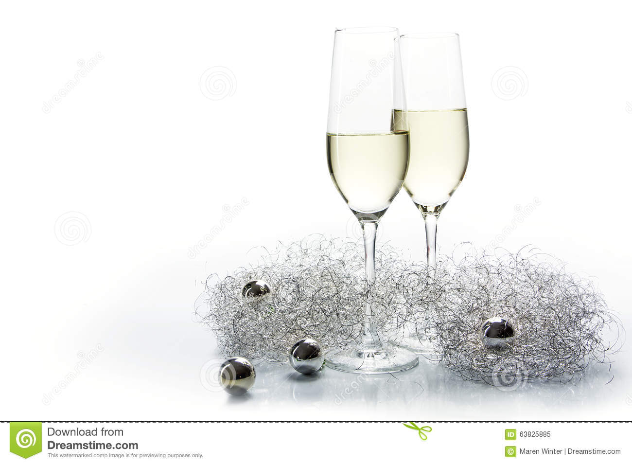 Two Flutes Champagne Glasses For New Year And Silver