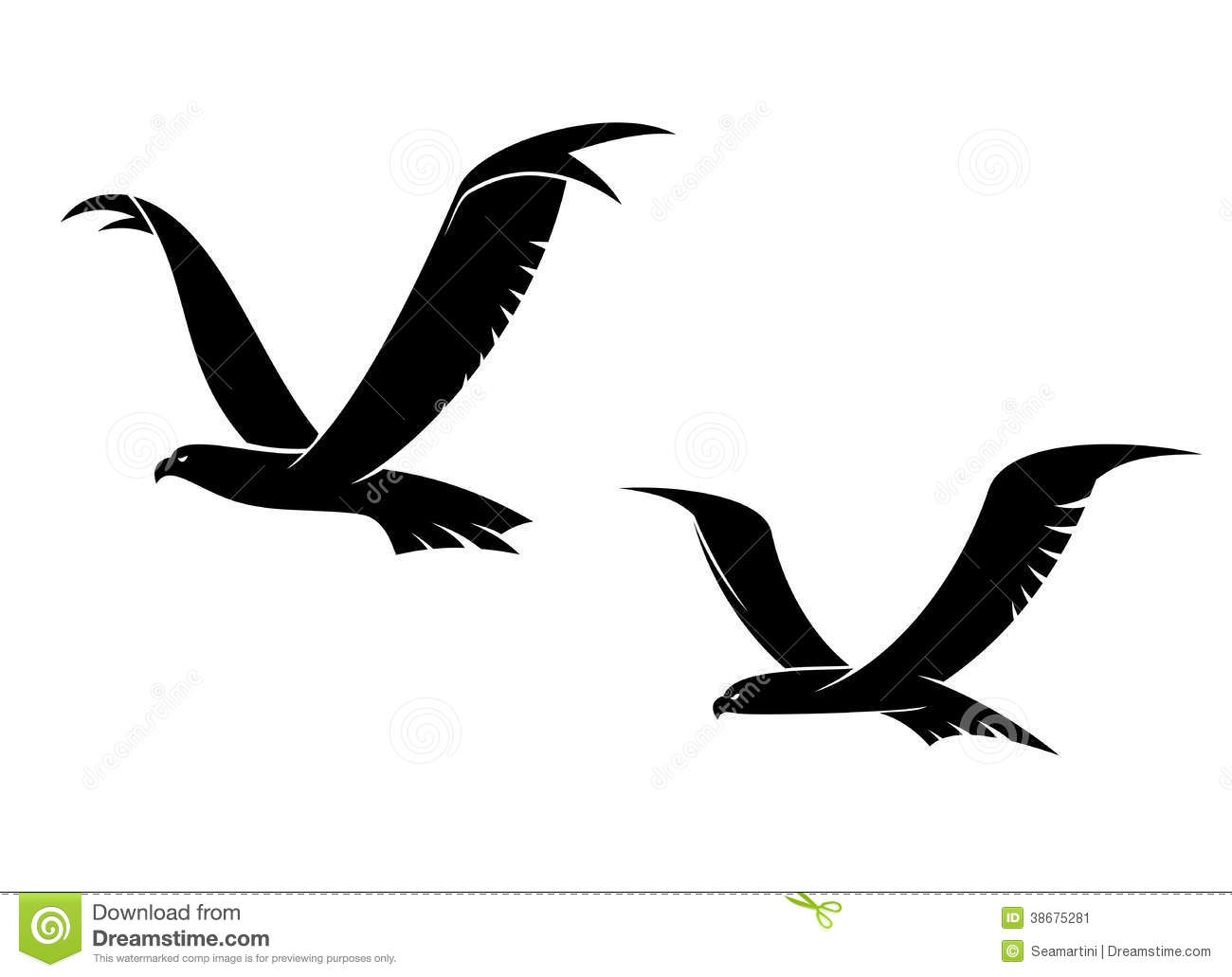 two flying birds in silhouette stock image image 38675281