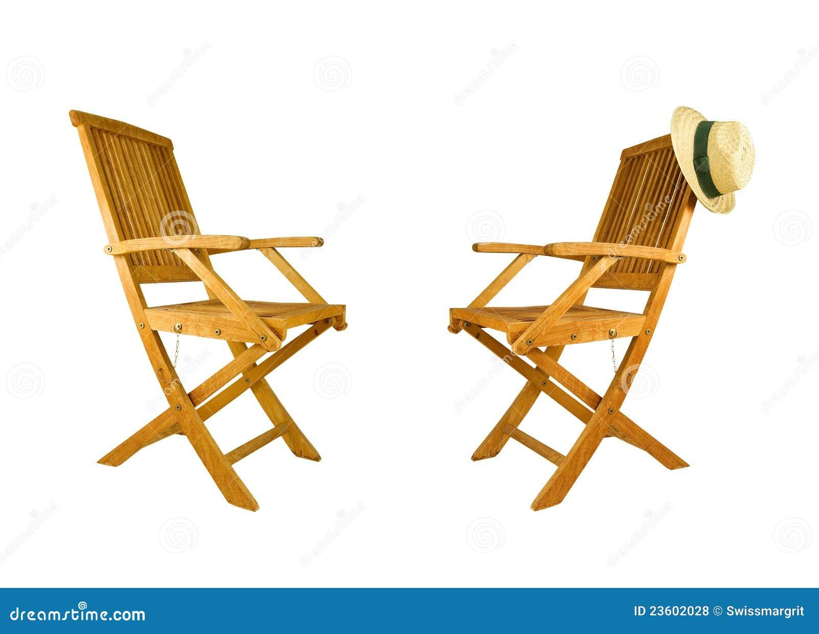 Two folding teak wood deck chair