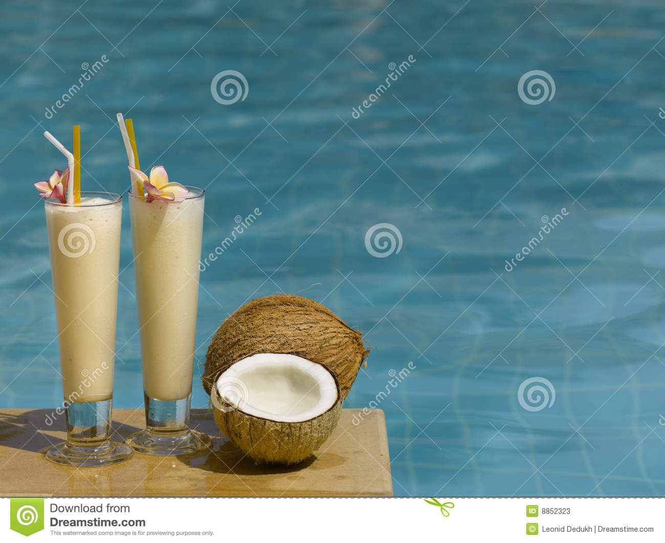 Two Fresh Juice In The Pool Stock Photos Image 8852323