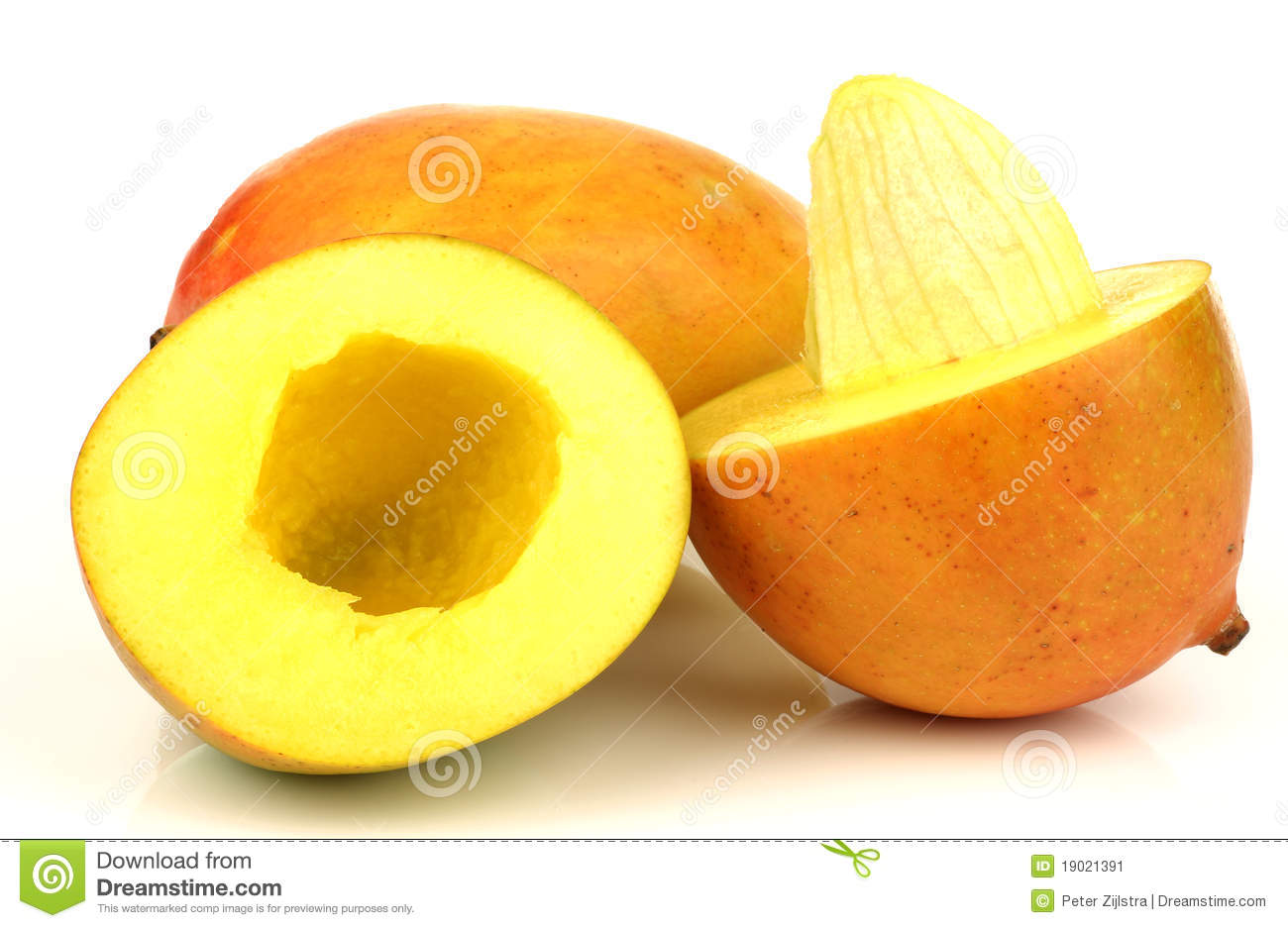 Two Fresh Mango Fruits With One Cut Stock Image